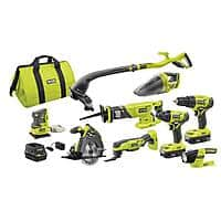 RYOBI 18-Volt ONE+ Lithium-Ion Cordless 9-Tool Combo Kit with (2) Batteries, Charger, and Bag - $249 at home depot