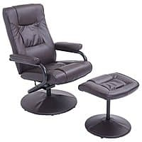 HomCom Leather Recliner and Ottoman Set (Brown) for $  76.99 AC + Free Shipping