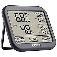 Domie Digital Temperature and Humidity Monitor w/ Big Touch Screen and Backlight $8.99 AC + FSSS