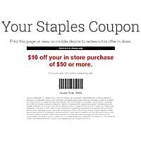 Staples Coupon $10 off when you spend $50 or more in store Exp.  08/31/19
