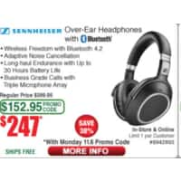 Sennheiser PXC 550 Bluetooth Active Noise Cancelling Headphones - $247+ Tax @ Fry's