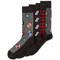 Macys Men's Apparel and Accessories Coupon: 25% Off: 4-Pk. Gamer Pattern Socks Gift Box $  3.75, Perry Ellis Leather Trifold Wallet & Bottle Opener $  7.50, More
