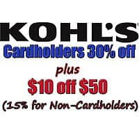 Kohl's Cardholders Stacking Coupon: 30% Off + Extra $10 Off $50+ + Free S/H (Valid 9/13 Only)