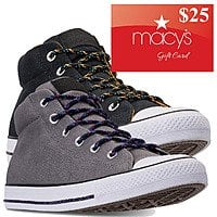 Converse Men's Chuck Taylor Street Mid Sneakers (black or grey) + $25 Macys eGift Card 2 for $52.50 ($26.25 each) + free store pickup at Macys via slickdeals rebate