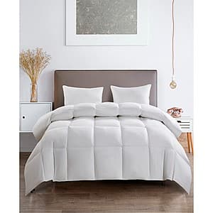 Royal Luxe White Goose Feather & Down 240-Thread Count Cotton Comforter: Queen or King $45 + $10 in Slickdeals Cashback + Free shipping