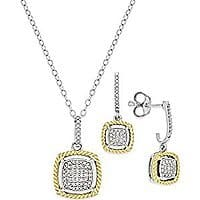 Diamond Pendant Necklace and matching Earring set for $  157 free shipping