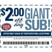 Jersey Mike's Coupon For $2 Off Any Giant Sub