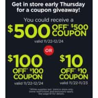 JCPenney Black Friday: Super Savings Coupon Giveaway: $10 off $10, $100 off $100, or $500 off $500 - FREE (Starts 11/22- 2PM)