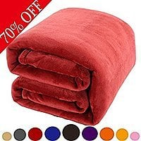 "Fleece Soft Warm Fuzzy Plush Lightweight Throw Blanket 60""x43"" (Assorted Colors) 50% OFF @ Amazon $  9.95"