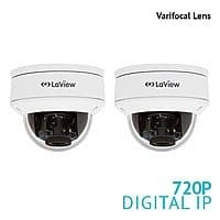 2-Pack LaView 720P 1.3MP Varifocal Dome IP Surveillance Cameras $52.80 + Free Shipping