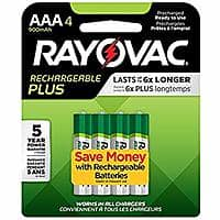 Rayovac High Capacity Rechargeable Plus AAA Batteries (4 Count) - $4.18+tax or lower with S&S @ Amazon