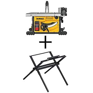 DEWALT 15 Amp Corded 8-1/4 in. Compact Jobsite Tablesaw (DWE7485) with Compact Table Saw Stand (DW7451)  - $299.99 at Home Depot