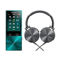 Sony 32GB Walkman MP3 Player w/ Hi-Res Audio (Blue) + Bass Headset Bundle for $  228 + Free Shipping