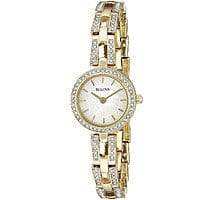 Bulova Women's Crystal Analog Display Quartz Gold Watch 98L213 $  49.25@luxerwatches.