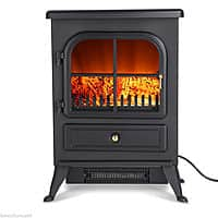 Electric Fireplace Stove Fire Heater FreeStanding (1850W + Log Burning Flame Effect) $  64.96+ FS @eBay.
