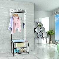 LANGRIA Entryway Metal Storage Shoe Bench with Coat Rack $36.99 + fs