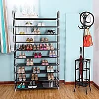 Zimtown 10 Tiers Shoe Rack 50 Pairs Non-woven Fabric Shoe Tower Organizer Cabinet Black $16.99 + fs