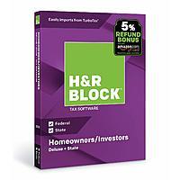 H&R Block Tax Software: Deluxe + State 2018 + 5% Amazon Refund Bonus Offer (PC/Mac Disc or Digital Download) $18 & More via Amazon
