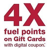 Get 4x FUEL Points at Kroger on gift cards  FRI - SAT - SUN Only. Expires 3/3/19