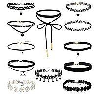 FIBO STEEL Leather Chain Necklace for Women Girls Choker Necklace Velvet Length Adjustable (Set of 12pcs): $  5.99 + FSSS @Amazon