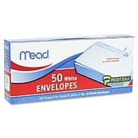 Mead #10 Envelopes, Press-It Seal-It, 50 for $1.59 at Amazon