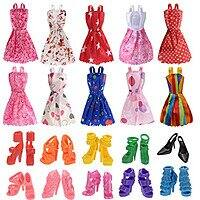 10 Pieces Clothes for Doll with 10 Pairs Doll Shoes, Girl's Birthday Present (A) $3.34