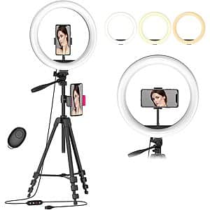 "12.6"" Selfie Ring Light with 54"" Tripod Stand & Flexible Phone Holder $13.99"