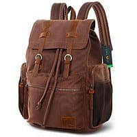 17 Inch Canvas Laptop Backpack Unisex Vintage Leather Casual $  23.99