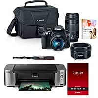 Canon T6 DSLR Camera + 18-55mm + 75-300mm + 50mm Lenses + Case + Pro 100 Printer & More $  479 after rebate + free shipping