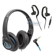 Audio Technica Headphone Bundle: ATH-AX5iSBK heasphones + ATH-CKP200iSBK earphones $45 + free shipping