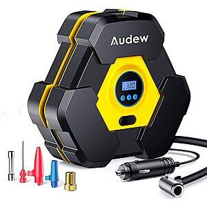Audew 12V 150PSI Portable Air Compressor Tire Inflator with Gauge + LED Light $15 + free s/h @ Amazon