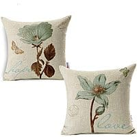 Lotus Leaf Butterfly Flowers Pattern Cotton Linen Throw Pillow Case