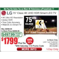 Fry's Daily Deals 7/15/17 LG 75-inch 4K UHD HDR LED Smart HDTV $  1799 w/ personal promo code!!