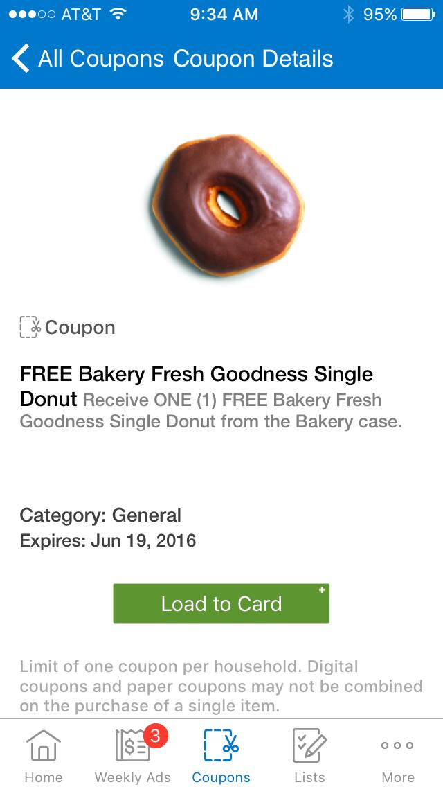 Kroger Free Donut Digital Coupon