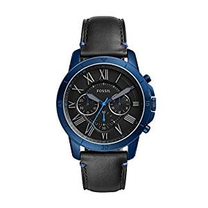Fossil grant sport chronograph black leather watch - FS5342 $98.81
