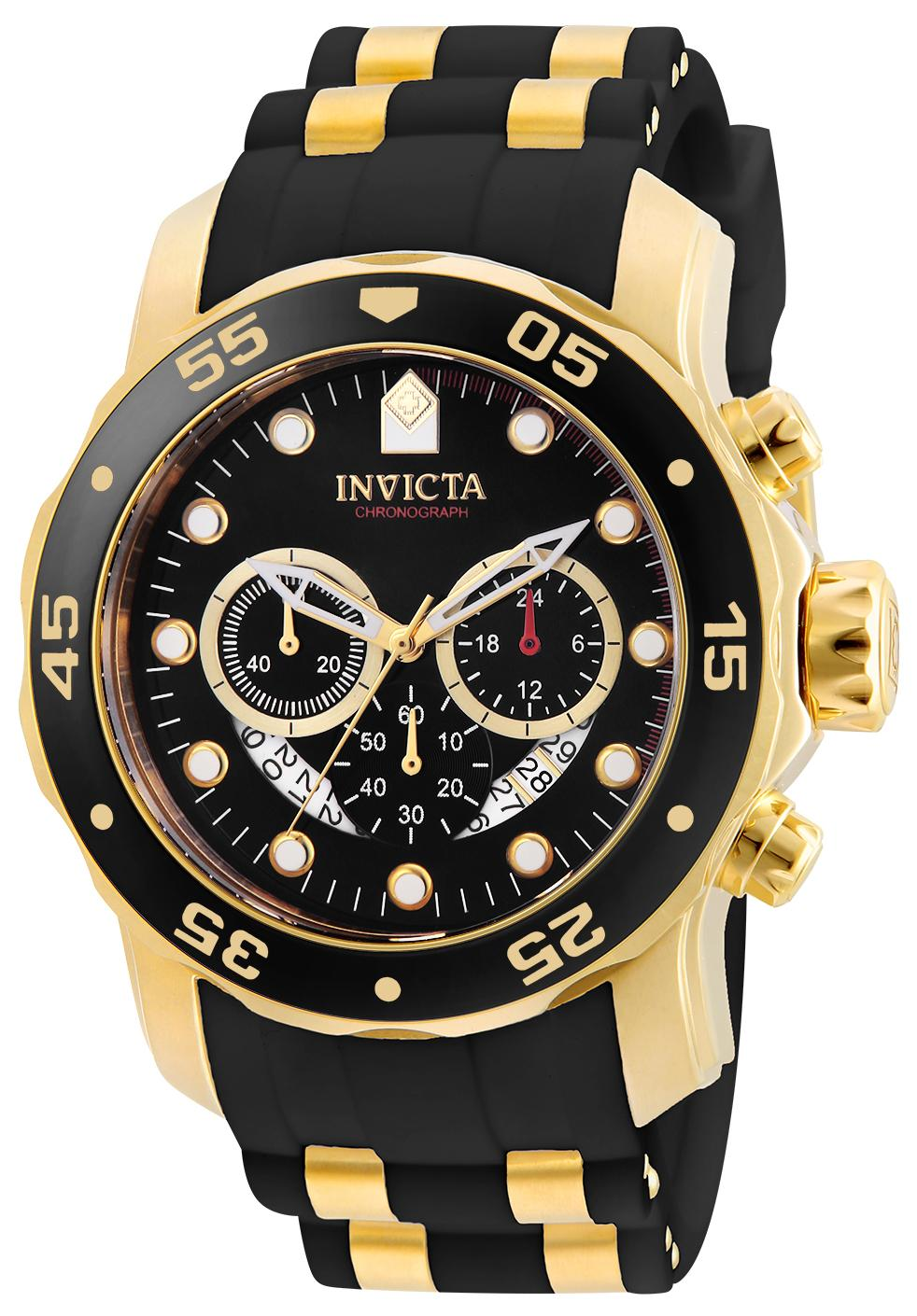 Invicta Men's 6981 Pro Diver Analog Swiss Chronograph Black Polyurethane Watch $59.99
