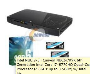 Intel Skull Canyon NUC6i7KYK Core i7 NUC + G.SKILL 16GB + Intel 512GB SSD $739.99, Free Shipping