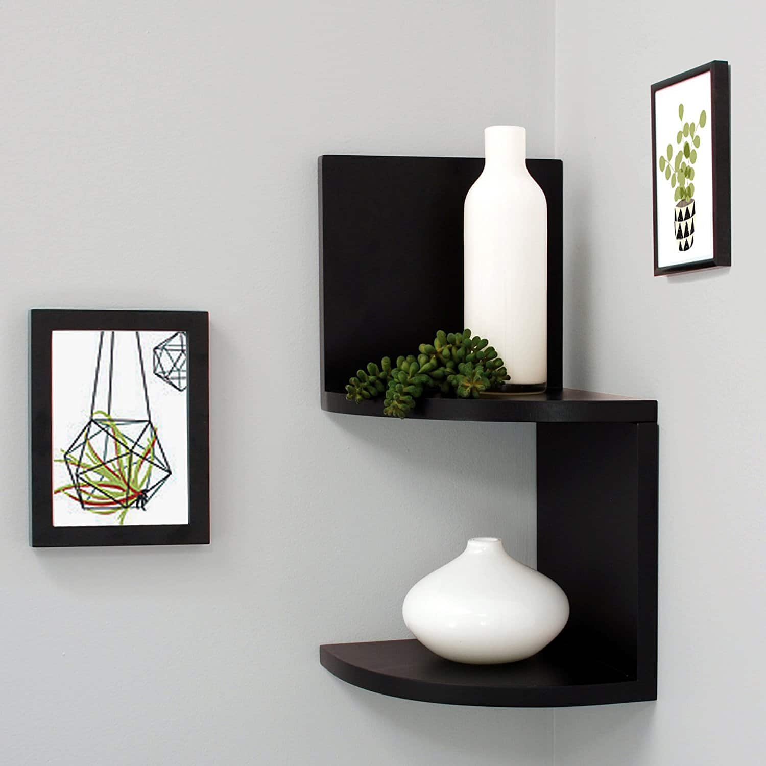 Kiera Grace Priva 2-Tier Wall Mount Corner Shelves (Black) $5.50 + Free Store Pickup