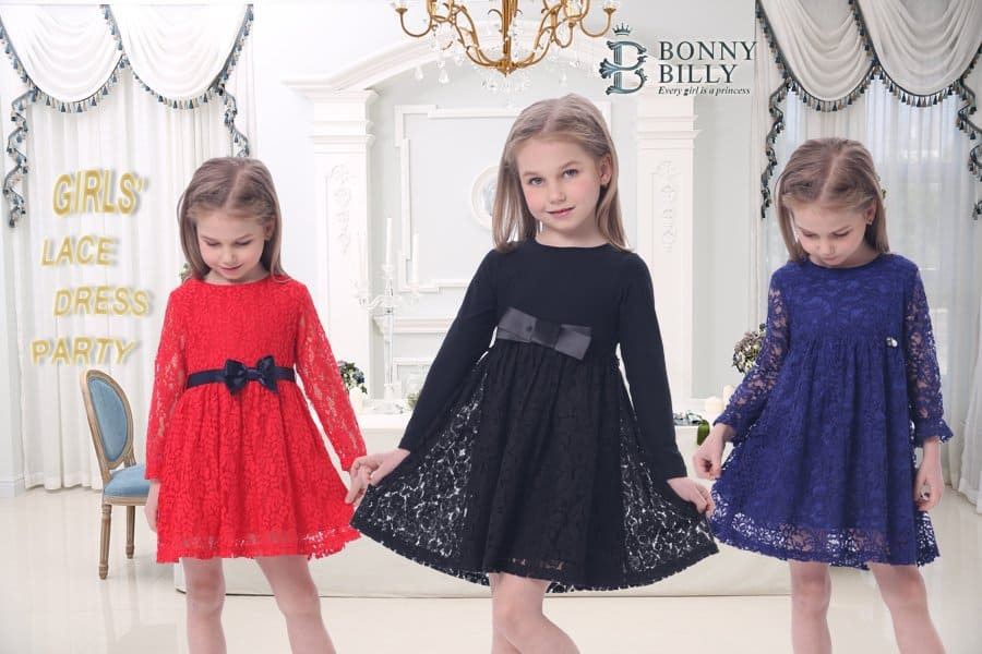 Girl's A-Line Long Sleeve Blue Lace Kid Dress $9.56 AC FS w/ Prime
