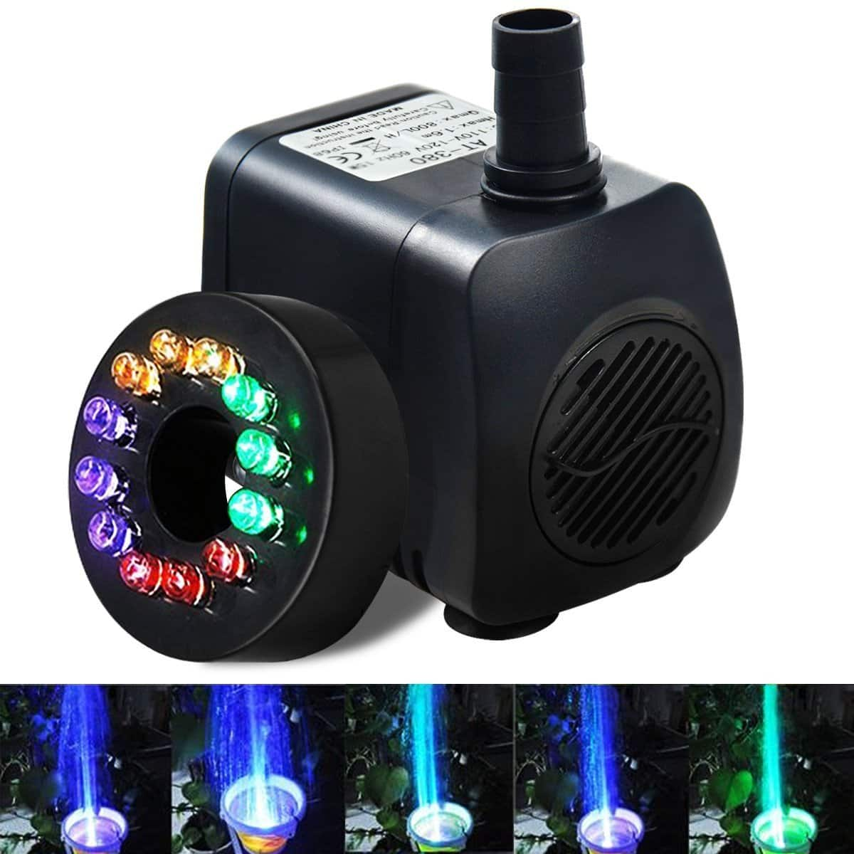 Submersible Water Pump with Multicolored LED Lighting for Fountains, Aquariums, Ponds $8.33 AC FS w/ Prime