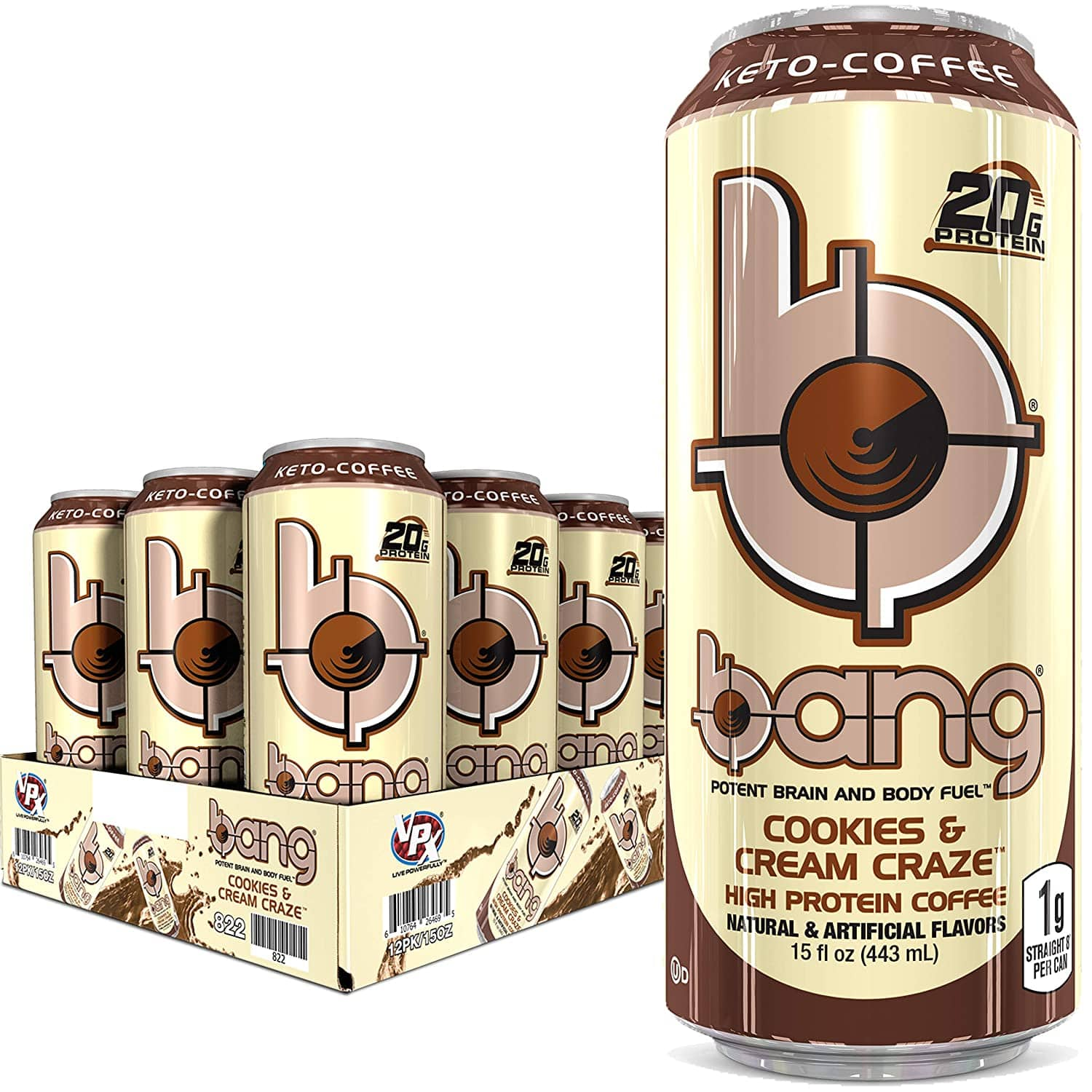 BANG Cookies and Cream Keto Coffee Energy Drink, 20g Protein, Coffee Cookies & Cream 15 Fl Oz (Pack of 12) on Amazon + Prime shipping $2.98 $2.98