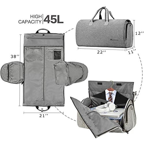 Convertible Garment Bag with Shoulder Strap, Modoker Carry on Garment Duffel Bag for Men Women - 2 in 1 Hanging Suitcase Suit Travel Bags $30.8