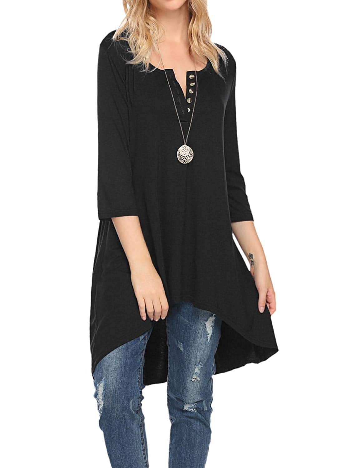 Naggoo Women's Half Sleeve High Low Loose Fit Casual Tunic Tops Tee Shirt Dress $13.63