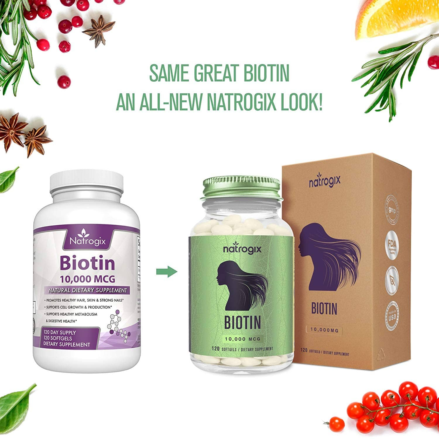 Biotin High Potency 10000 Mcg Per Veggie Softgel by Natrogix - Hair Loss Product Supports Hair Growth, Glowing Skin and Strong Nails - 120 Mini $8.49