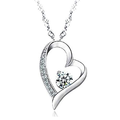 Sephla 14k White Gold Plated Forever Lover Heart Pendant Necklace $ 12.79 @Amazon $12.78