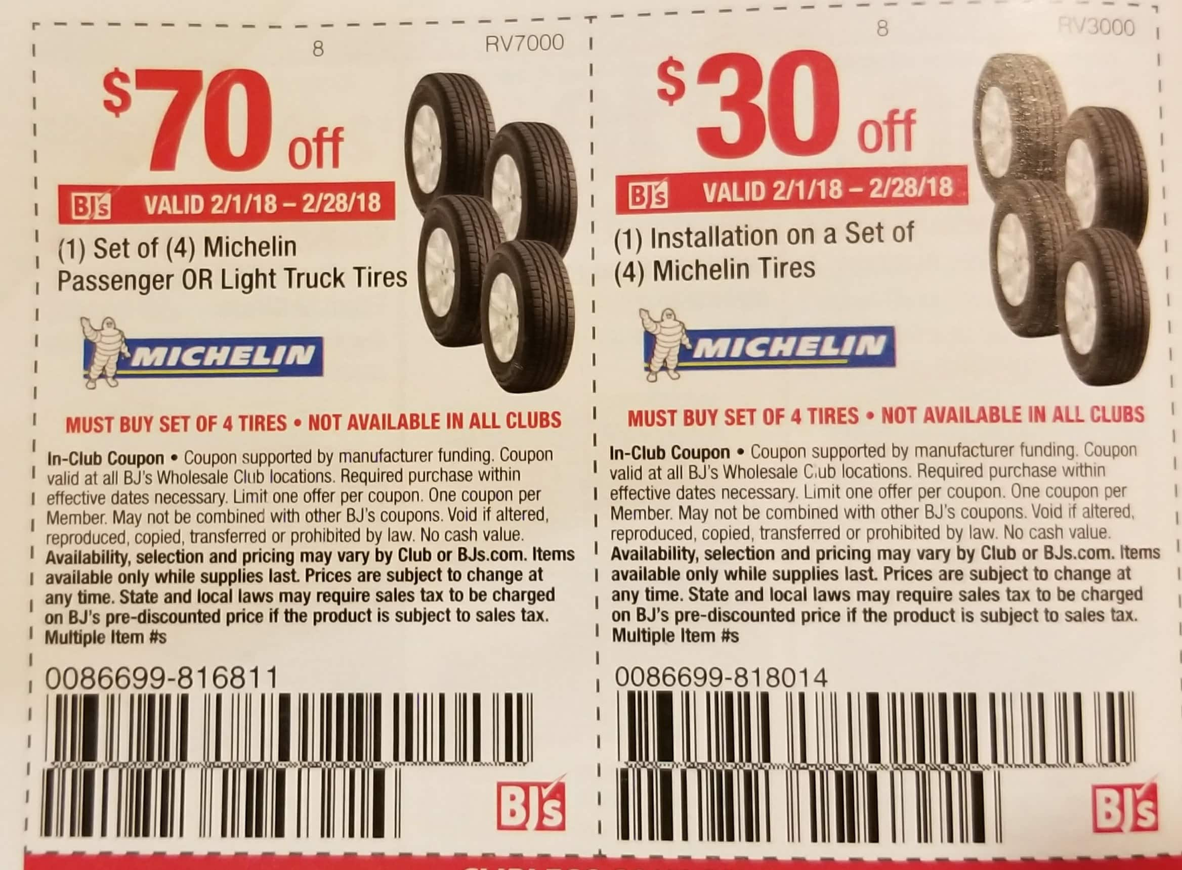 BJs Members: $70 off Set of 4 Michelin Tires (02/01-02/28)