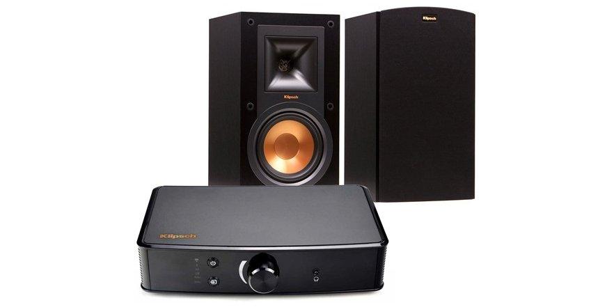Klipsch R-15M Bookshelf Speakers (Pair) + PowerGate Amp $369 - back again on Woot!