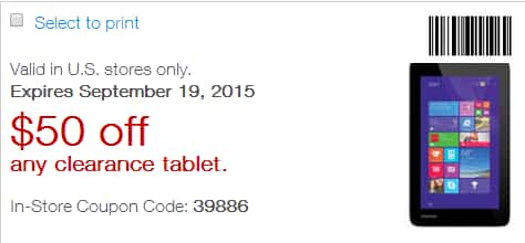 $50 off any clearance tablet. Staples, in store only. YMMV Expires 9/19