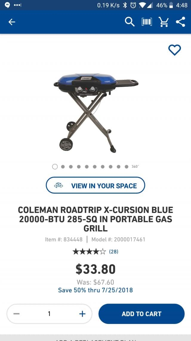 Lowes YMMV Clearance ** Coleman Roadtrip X-Cursion 20000-BTU 285-sq in Portable Gas Grill $33.80