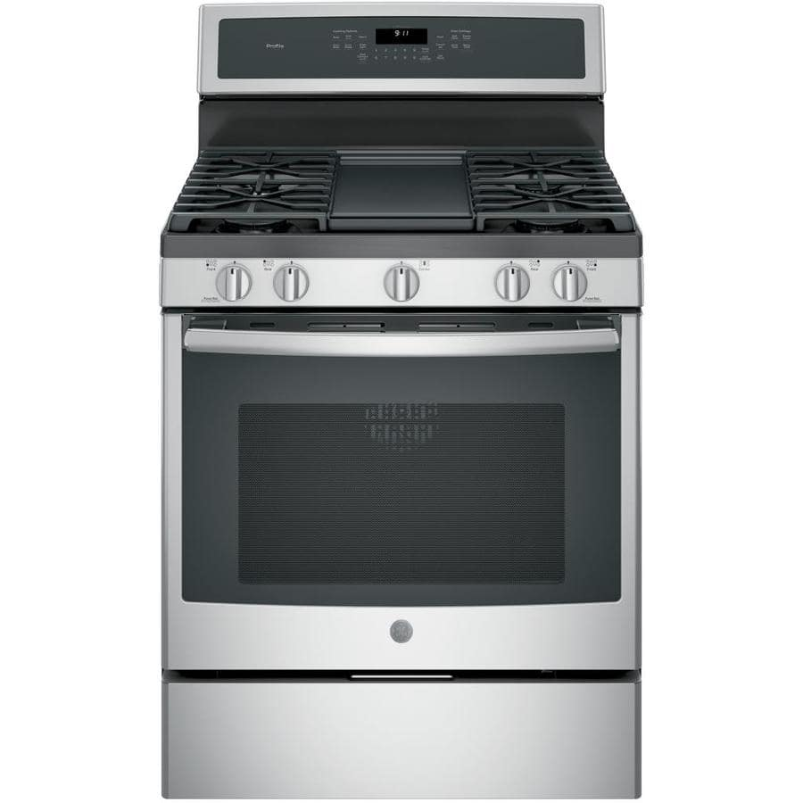 LOWES CLEARANCE * GE Profile 5-Burner 5.6-cu ft Self-cleaning Convection Gas Range *** $299.75 with free delivery *** normal price $1199.00